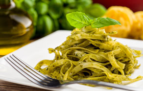 Tagliatelle with Zucchini Pesto, Almonds and Mint Leaves
