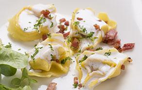 Tortellini with Cream, Pancetta and Saffron
